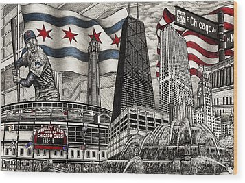 Chicago Cubs, Ernie Banks, Wrigley Field Wood Print