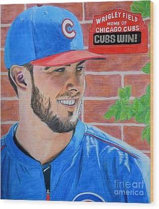 Chicago Cubs Kris Bryant Portrait Wood Print