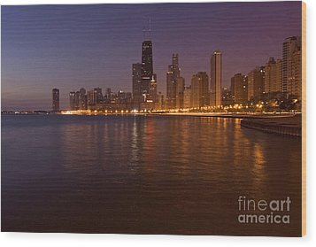 Chicago Dawn Wood Print by Sven Brogren