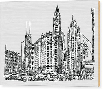 Chicago Downtown Wood Print