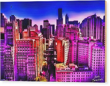 Wood Print featuring the photograph Chicago Glowing by Kathy Tarochione