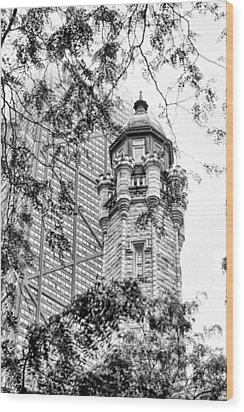 Wood Print featuring the photograph Chicago Historic Water Tower Fog Black And White by Christopher Arndt