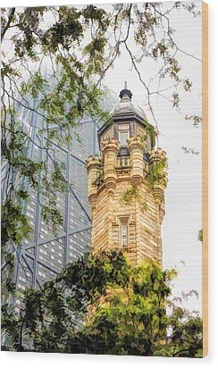 Wood Print featuring the painting Chicago Historic Water Tower Fog by Christopher Arndt