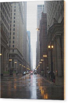 Chicago In The Rain 2 Wood Print by Anita Burgermeister