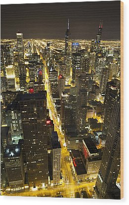 Wood Print featuring the photograph Chicago Is Always Alive by Shawn Everhart