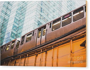 Chicago L Elevated Train  Wood Print by Paul Velgos