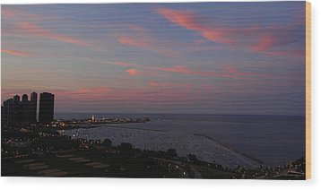 Chicago Lakefront At Sunset Wood Print by Michael Bessler