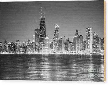 Chicago Lakefront Skyline Black And White Photo Wood Print by Paul Velgos