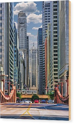 Wood Print featuring the painting Chicago Lasalle Street by Christopher Arndt