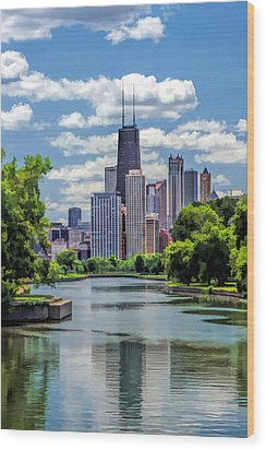 Wood Print featuring the painting Chicago Lincoln Park Lagoon by Christopher Arndt