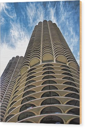 Wood Print featuring the painting Chicago Marina Towers by Christopher Arndt
