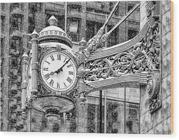 Wood Print featuring the photograph Chicago Marshall Field State Street Clock Black And White by Christopher Arndt