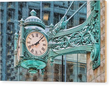 Wood Print featuring the painting Chicago Marshall Field State Street Clock by Christopher Arndt
