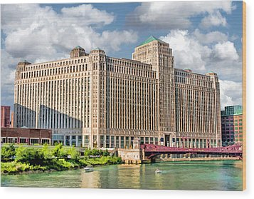 Wood Print featuring the painting Chicago Merchandise Mart by Christopher Arndt