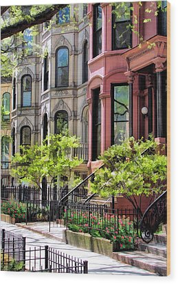 Wood Print featuring the painting Chicago North Shore Greystones by Christopher Arndt