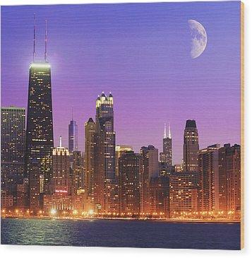 Chicago Oak Street Beach Wood Print by Donald Schwartz