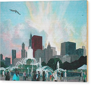 Chicago On The Fourth Wood Print by Jacob Stempky