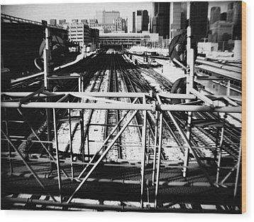 Chicago Railroad Yard Wood Print by Kyle Hanson