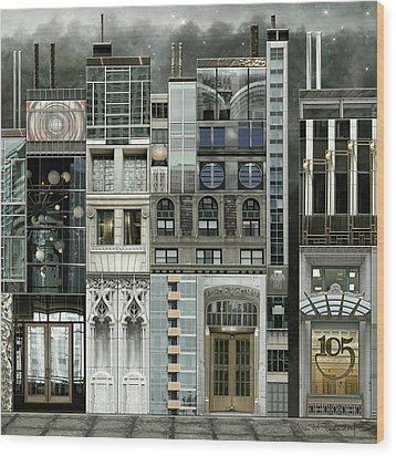 Chicago Reconstruction 1 Wood Print by Joan Ladendorf
