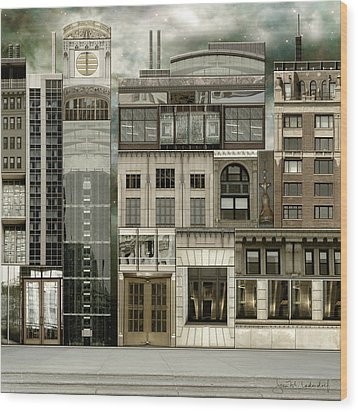 Chicago Reconstruction 2 Wood Print by Joan Ladendorf