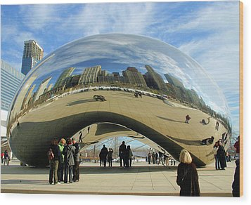 Chicago Reflected Wood Print