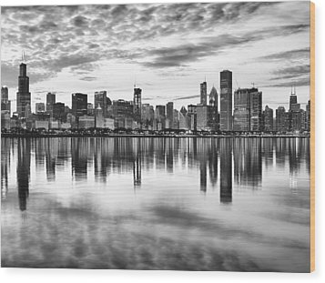 Chicago Reflection Wood Print