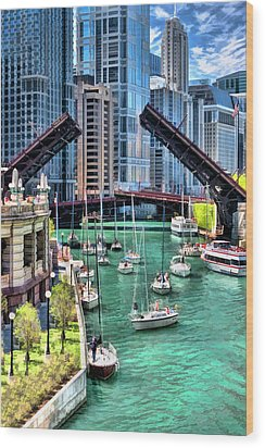 Wood Print featuring the painting Chicago River Boat Migration by Christopher Arndt