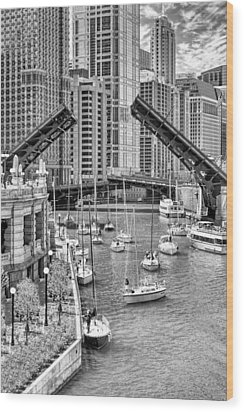 Wood Print featuring the photograph Chicago River Boat Migration In Black And White by Christopher Arndt