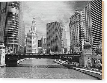 Chicago River Buildings Skyline Wood Print by Paul Velgos