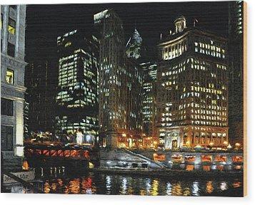 Chicago River Crossing Wood Print by Jeff Kolker