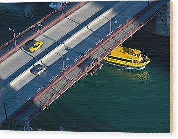 Chicago River Crossing Wood Print by Steve Gadomski