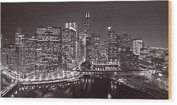 Chicago River Panorama B W Wood Print by Steve Gadomski