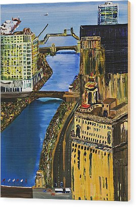 Chicago River Skyline Wood Print by Gregory A Page
