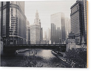 Chicago River Skyline Wood Print by Paul Velgos