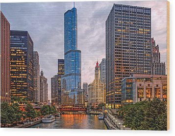 Chicago Riverwalk Equitable Wrigley Building And Trump International Tower And Hotel At Sunset  Wood Print