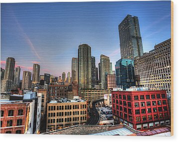 Chicago Rooftop And Sunset Wood Print by Shawn Everhart