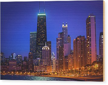 Chicago Shoreline Skyscrapers Wood Print