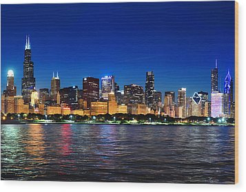 Chicago Shorline At Night Wood Print