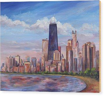 Chicago Skyline - John Hancock Tower Wood Print by Jeff Pittman