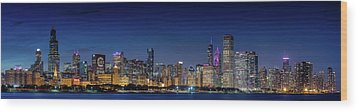 Wood Print featuring the photograph Chicago Skyline After Sunset by Emmanuel Panagiotakis