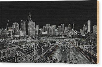 Chicago Skyline And Tracks Wood Print