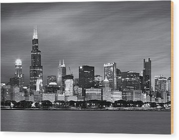Wood Print featuring the photograph Chicago Skyline At Night Black And White  by Adam Romanowicz