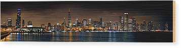 Chicago Skyline At Night Extra Wide Panorama Wood Print by Jon Holiday
