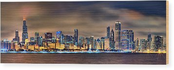 Chicago Skyline At Night Panorama Color 1 To 3 Ratio Wood Print by Jon Holiday