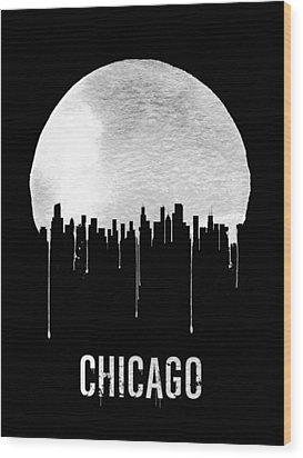 Chicago Skyline Black Wood Print by Naxart Studio