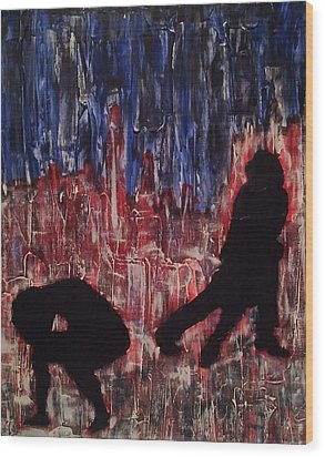 Wood Print featuring the painting Chicago Skyline Fireworks Agony And The Waltz by M Zimmerman