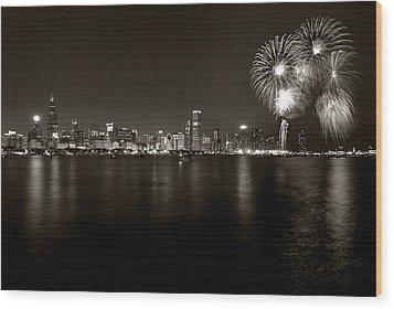 Chicago Skyline Fireworks Bw Wood Print by Steve Gadomski