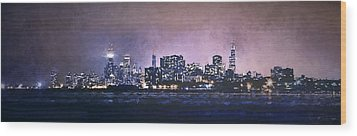 Chicago Skyline From Evanston Wood Print by Scott Norris