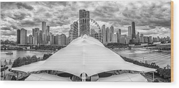 Wood Print featuring the photograph Chicago Skyline From Navy Pier Black And White by Adam Romanowicz