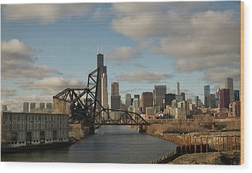 Chicago Skyline From The South Branch Wood Print by Sheryl Thomas